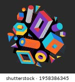 colorful 3d shapes vector...   Shutterstock .eps vector #1958386345