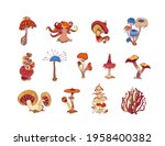 beautiful fantasy mushrooms set.... | Shutterstock .eps vector #1958400382