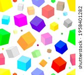 colorful isometric cubes of...   Shutterstock .eps vector #1958401282