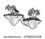 fabulous flying islands sketch... | Shutterstock .eps vector #1958401438