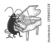 cartoon cockroach orchestra... | Shutterstock . vector #1958405218