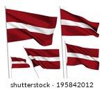 latvia vector flags set. 5 wavy ... | Shutterstock .eps vector #195842012