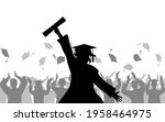 cheerful girl graduates with... | Shutterstock .eps vector #1958464975