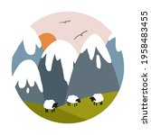 vector landscape with snowy... | Shutterstock .eps vector #1958483455