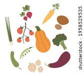 various vegetables isolated on... | Shutterstock .eps vector #1958529535