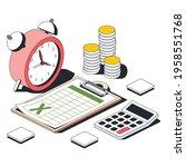 clock  document table  money...