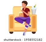lonely character drinks alcohol ... | Shutterstock .eps vector #1958552182