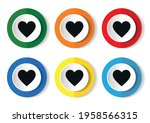 heart icon flat round buttons... | Shutterstock .eps vector #1958566315