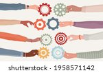 cooperation teamwork and... | Shutterstock .eps vector #1958571142