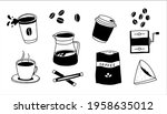 doodle coffee. morning...   Shutterstock .eps vector #1958635012