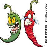 green and red chili peppers...   Shutterstock .eps vector #1958639902