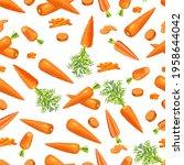 seamless background of carrots. ... | Shutterstock .eps vector #1958644042