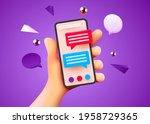 cute hand holding phone with... | Shutterstock .eps vector #1958729365