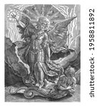 Small photo of The archangel Michael in armor tramples on Satan, in his half-human form and as a snake, and points to a halo of light with the spell