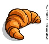 delicious baked croissant... | Shutterstock .eps vector #195886742
