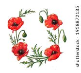 Watercolor Poppies Wreath  Hand ...