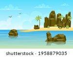 Rocks By Sea Landscape...