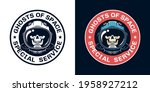 space badge with skull pilot in ...   Shutterstock .eps vector #1958927212