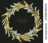 wreath of green and golden... | Shutterstock . vector #1958948035