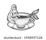 mermaid taking a bath in cup of ... | Shutterstock .eps vector #1958957128