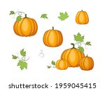 orange pumpkins isolated on a... | Shutterstock .eps vector #1959045415