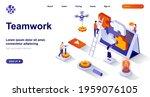 teamwork isometric landing page.... | Shutterstock .eps vector #1959076105