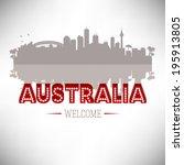 australia greeting card vector... | Shutterstock .eps vector #195913805