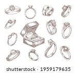 wedding and engagement rings...   Shutterstock .eps vector #1959179635