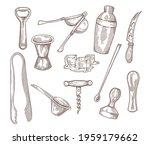 bartender equipment kit hand... | Shutterstock .eps vector #1959179662