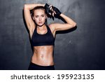 attractive fitness woman ... | Shutterstock . vector #195923135