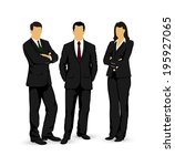 drawings businessmen on a white ... | Shutterstock . vector #195927065