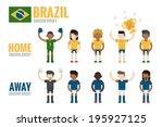 brazil soccer team charactor... | Shutterstock .eps vector #195927125