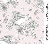 bird with flowers monochrome...   Shutterstock . vector #1959282352