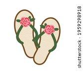 summer straw women's slippers... | Shutterstock .eps vector #1959298918