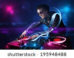 young disc jockey playing music ... | Shutterstock . vector #195948488