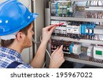 side view of male technician...   Shutterstock . vector #195967022