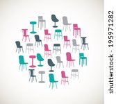 set of colorful furniture icons | Shutterstock .eps vector #195971282