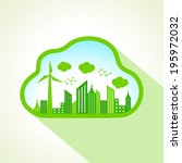 ecology concept with cloudscape ... | Shutterstock .eps vector #195972032
