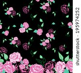 roses seamless pattern with... | Shutterstock .eps vector #195974252
