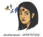 birds fly out of girl forehead... | Shutterstock .eps vector #1959757252