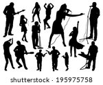 music silhouettes set | Shutterstock .eps vector #195975758
