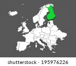 map of europe and finland. 3d | Shutterstock . vector #195976226