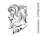 monochrome illustration of lion ... | Shutterstock .eps vector #1959861358