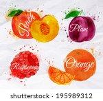 fruit set drawn watercolor... | Shutterstock .eps vector #195989312