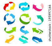 set of colored arrows icons on... | Shutterstock .eps vector #195997166