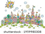 airship flying over pretty...   Shutterstock .eps vector #1959980308