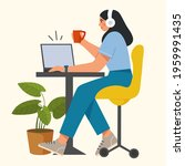 working or studying at home...   Shutterstock .eps vector #1959991435