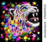 leopard psychedelic paint splats | Shutterstock .eps vector #196004522