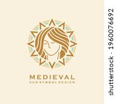 medieval symbol with young girl ... | Shutterstock .eps vector #1960076692