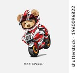 max speed slogan with bear doll ...   Shutterstock .eps vector #1960096822